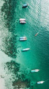 Preview wallpaper shore, boats, sandbar, ocean, moored, aerial view