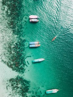 240x320 Wallpaper shore, boats, sandbar, ocean, moored, aerial view