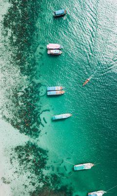240x400 Wallpaper shore, boats, sandbar, ocean, moored, aerial view