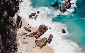 Preview wallpaper shore, coast, cliffs, tide