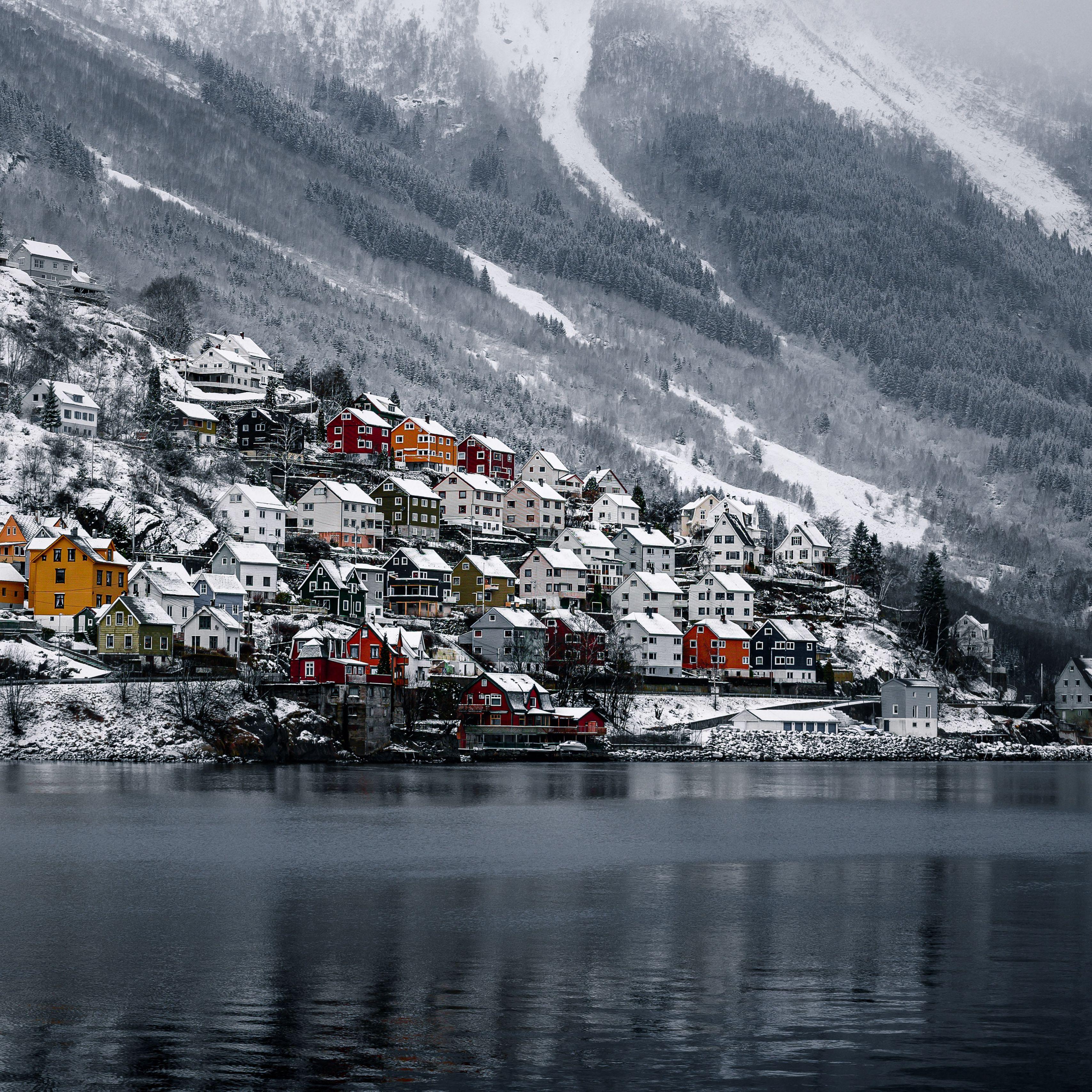 3415x3415 Wallpaper shore, house, water, lake, peak