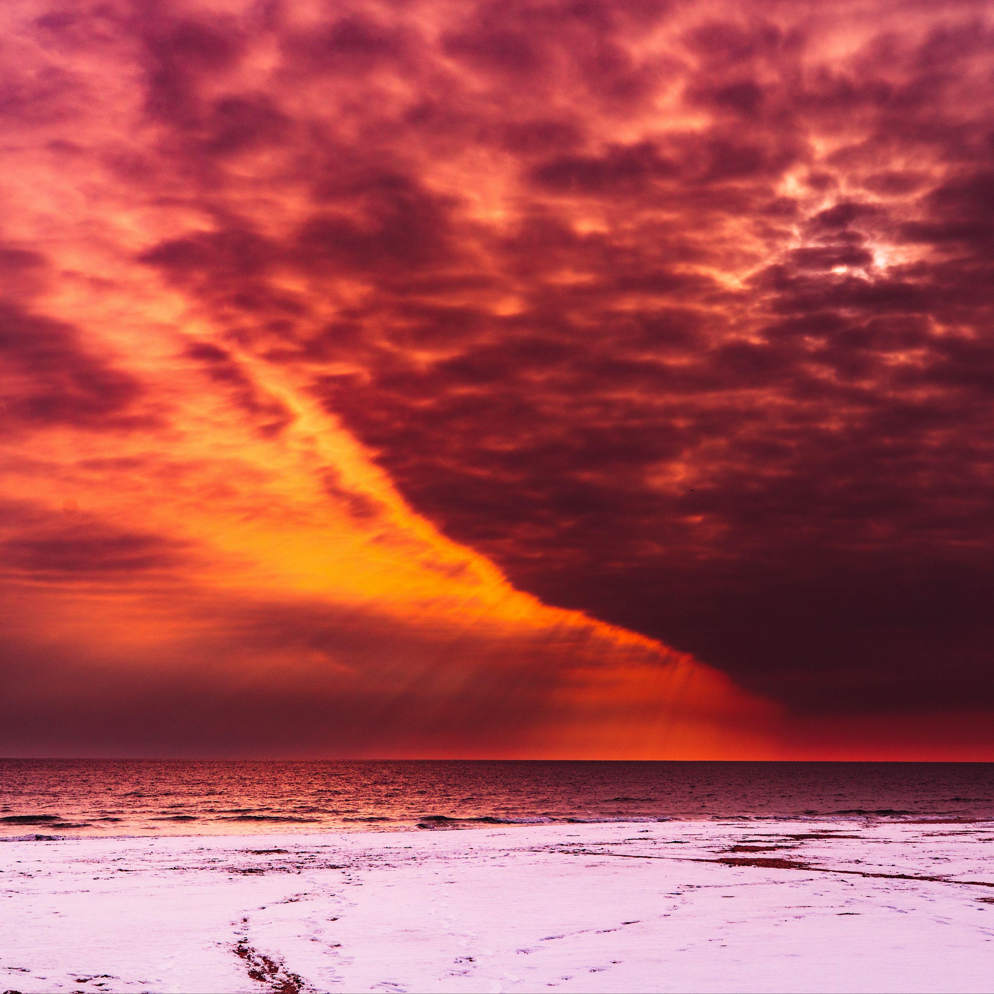 3415x3415 Wallpaper shore, radiance, sky, snow