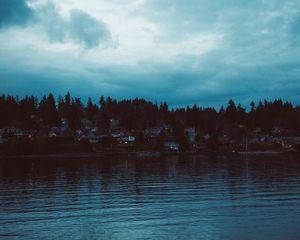 Preview wallpaper shore, river, home, village, twilight, sunset, sky
