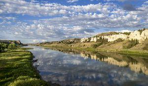Preview wallpaper shore, river, reflection, clouds, landscape