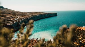 Preview wallpaper shore, sea, cliff, stone, water, plants