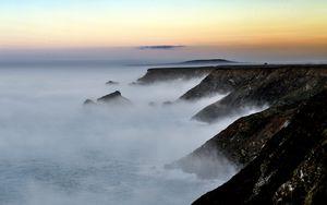 Preview wallpaper shore, sea, fog, dusk, morning