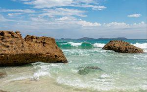 Preview wallpaper shore, sea, water, stones, landscape