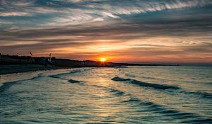 Preview wallpaper shore, sea, water, sun sunset