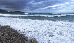 Preview wallpaper shore, sea, waves, horizon, surfers, landscape