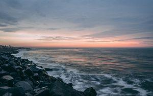 Preview wallpaper shore, stone, horizon