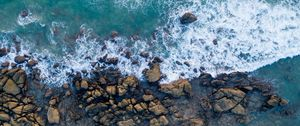 Preview wallpaper shore, stones, sea, surf