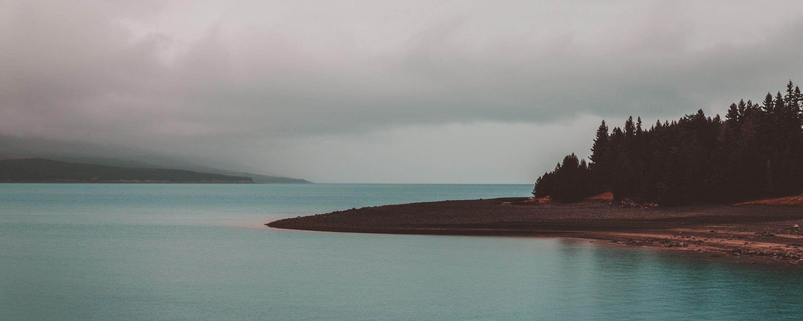 2560x1024 Wallpaper shore, trees, sea
