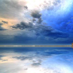 Preview wallpaper shore, water, clouds, reflection, landscape