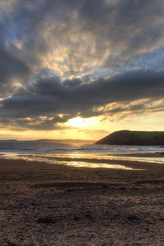 320x480 Wallpaper shore, water, sunset, landscape