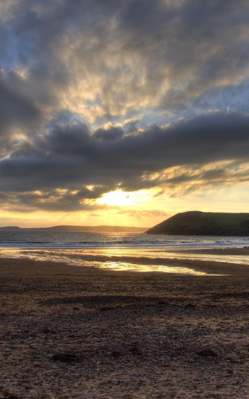 800x1280 Wallpaper shore, water, sunset, landscape