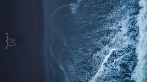 Preview wallpaper shore, wave, man, aerial view, loneliness, freedom