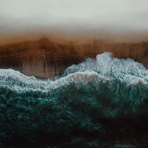 Preview wallpaper shore, wave, surf, foam, sand, aerial view