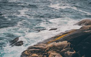 Preview wallpaper shore, wave, surf, waves, stony