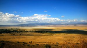 Preview wallpaper shroud, distance, open space, expanse, field, steppe, river, bushes, clouds, sky