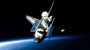 Preview wallpaper shuttle, open space, flight, light