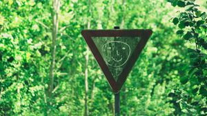 Preview wallpaper sign, face, drawing, smile, forest, trees