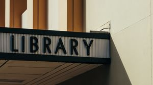 Preview wallpaper signboard, library, inscription