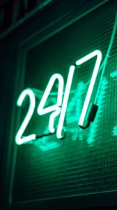 Preview wallpaper signboard, neon, numbers, light, green