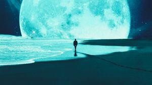 Preview wallpaper silhouette, alone, beach, moon, dark