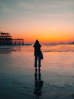 240x320 Wallpaper silhouette, alone, beach, sea, sunset, dark