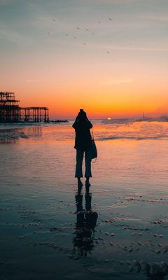 240x400 Wallpaper silhouette, alone, beach, sea, sunset, dark