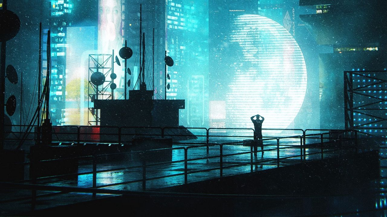 Wallpapersilhouette,alone,buildings,night,light,blue高清壁纸免费下载