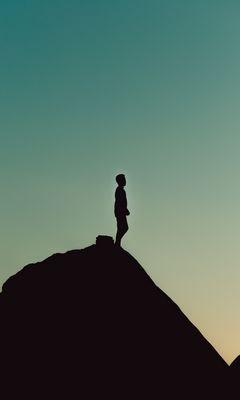 240x400 Wallpaper silhouette, alone, mountain, twilight, dark