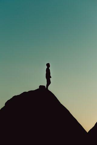 320x480 Wallpaper silhouette, alone, mountain, twilight, dark