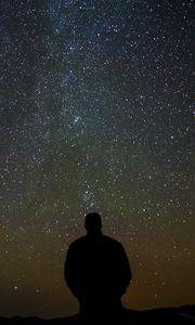 Preview wallpaper silhouette, alone, night, stars, dark