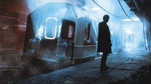 Preview wallpaper silhouette, alone, subway, carriage, apocalypse
