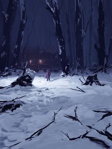 Preview wallpaper silhouette, alone, wolves, forest, snow, winter, art
