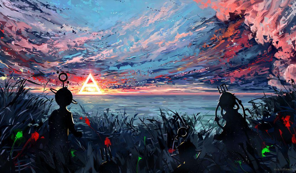 1024x600 Wallpaper silhouette, art, sky, spots, colorful