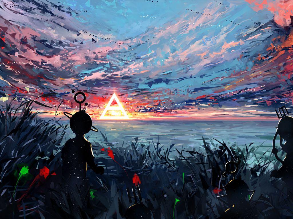 1024x768 Wallpaper silhouette, art, sky, spots, colorful