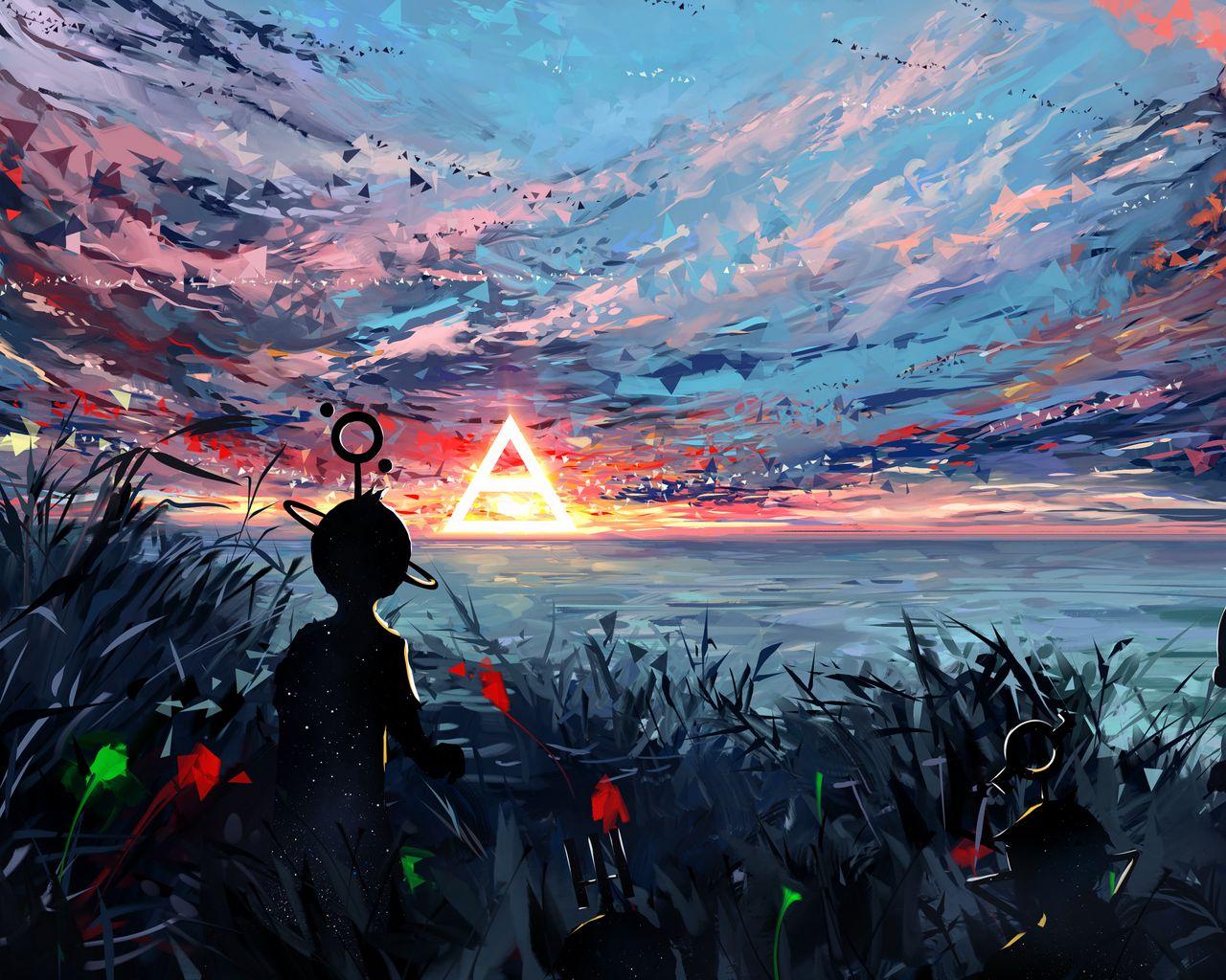1280x1024 Wallpaper silhouette, art, sky, spots, colorful