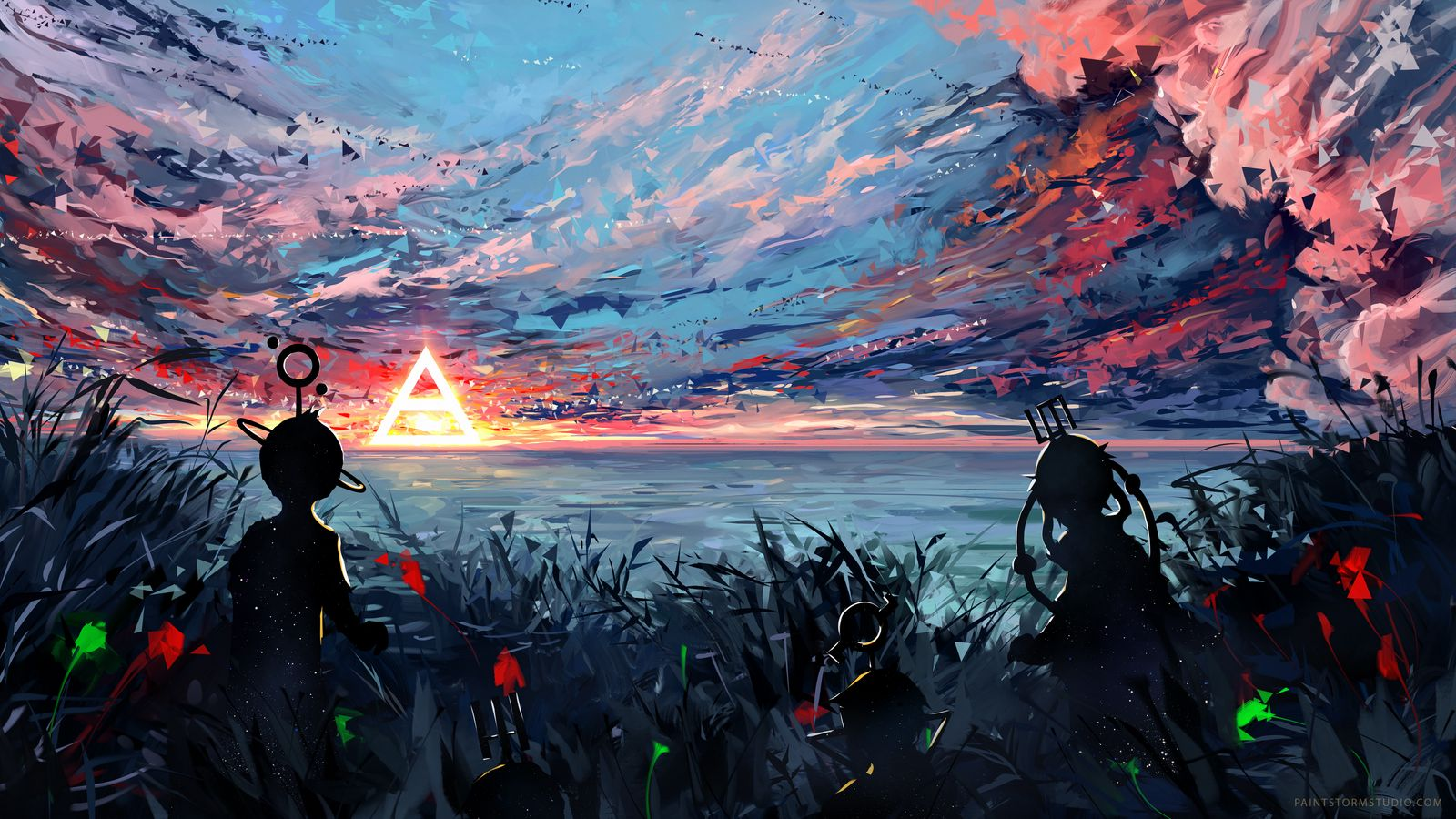 1600x900 Wallpaper silhouette, art, sky, spots, colorful