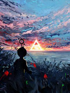 240x320 Wallpaper silhouette, art, sky, spots, colorful