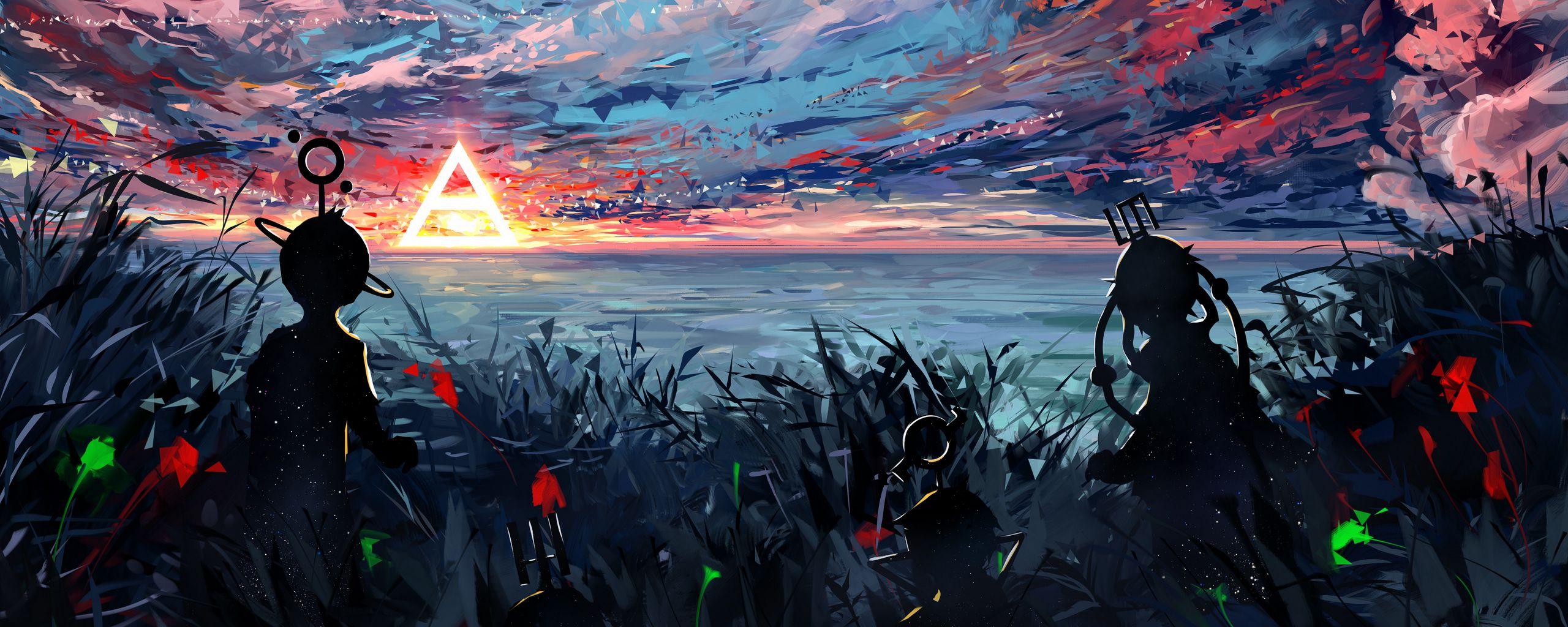 2560x1024 Wallpaper silhouette, art, sky, spots, colorful