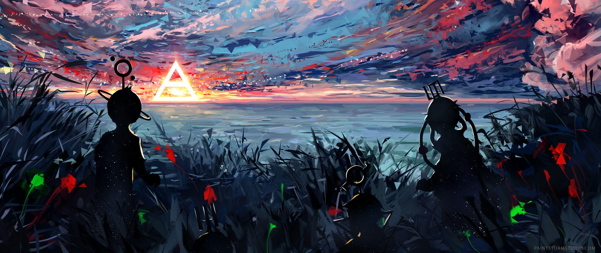 2560x1080 Wallpaper silhouette, art, sky, spots, colorful