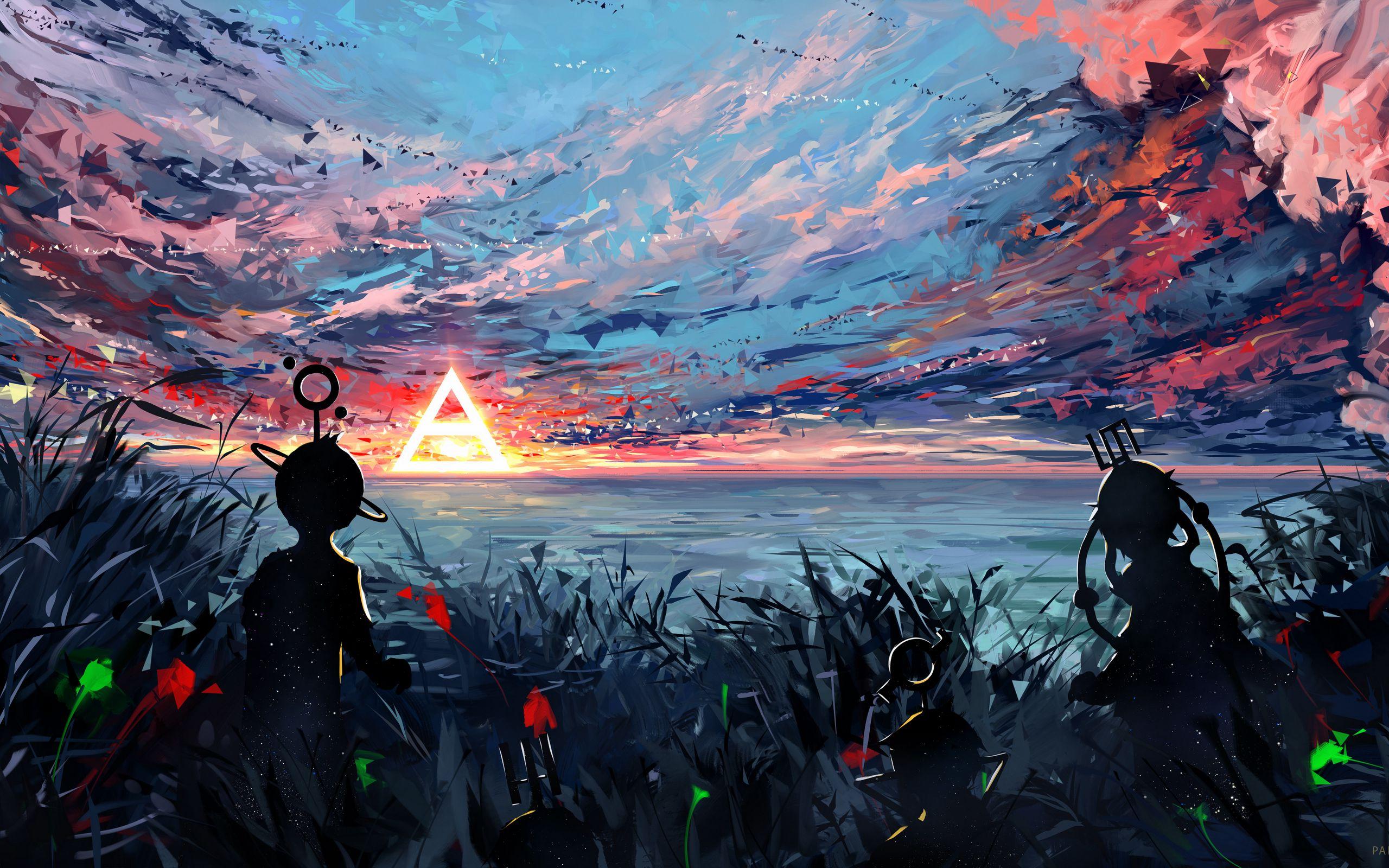 2560x1600 Wallpaper silhouette, art, sky, spots, colorful