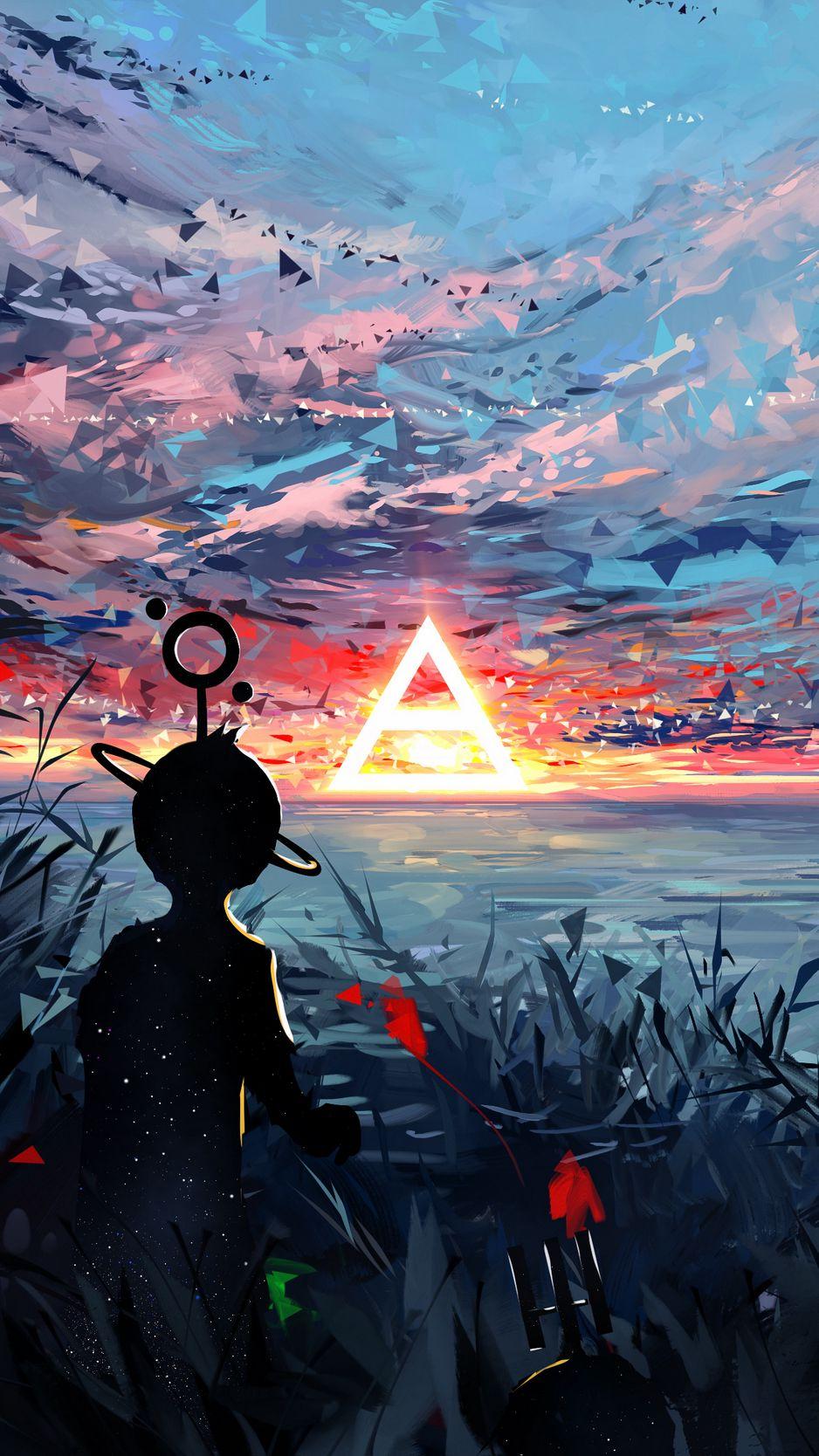 938x1668 Wallpaper silhouette, art, sky, spots, colorful