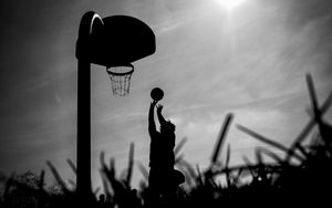 Preview wallpaper silhouette, ball, basketball hoop, basketball, black and white