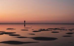Preview wallpaper silhouette, beach, twilight, dark, water, shore