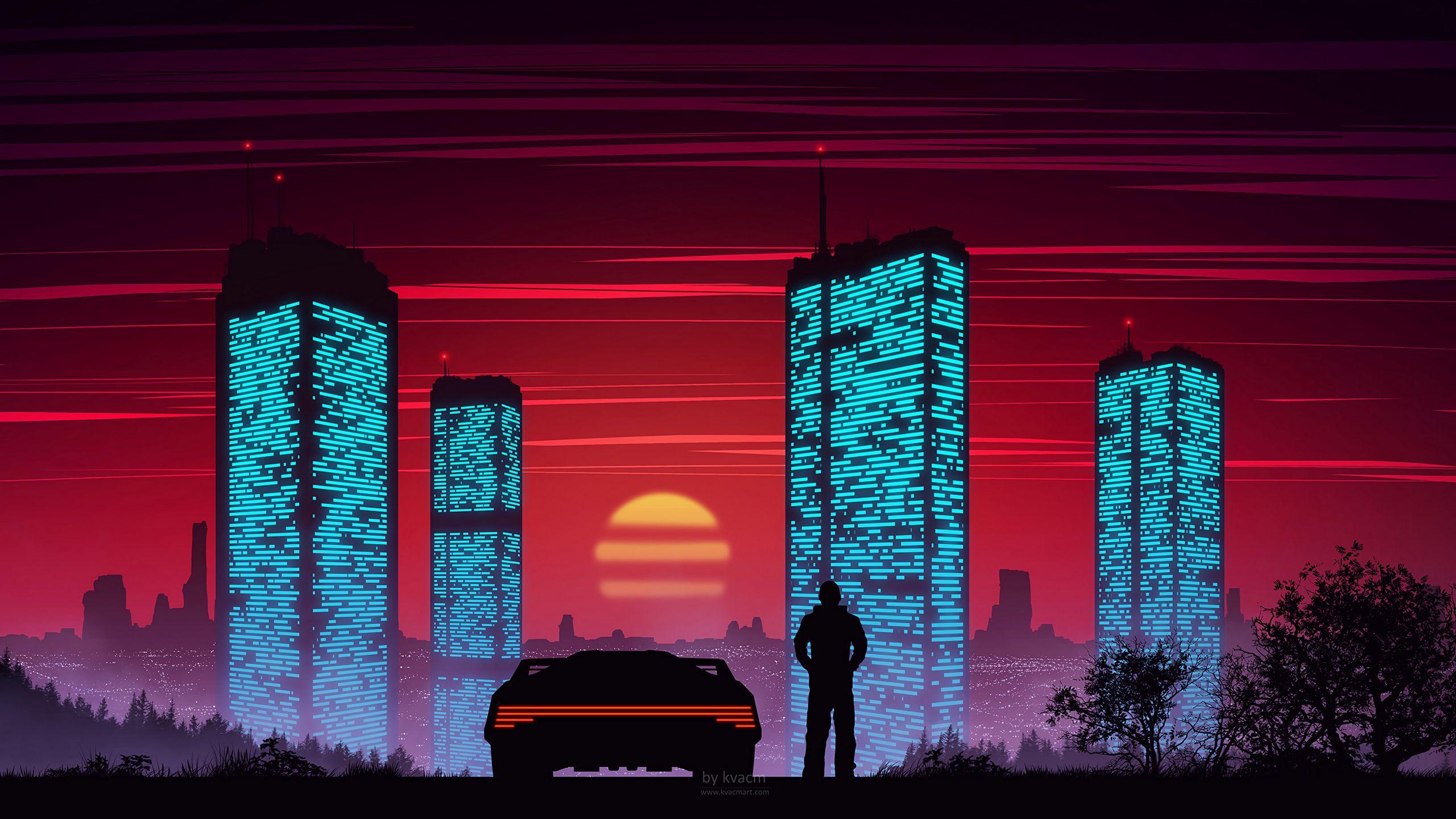 2560x1440 Wallpaper silhouette, car, city, sunset, buildings, art, vector