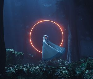 Preview wallpaper silhouette, circle, glow, forest, night, alien