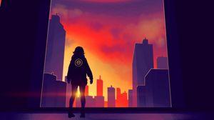Preview wallpaper silhouette, city, art, dawn, buildings